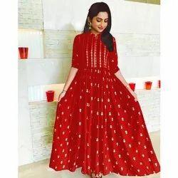 Party Wear 3/4th Sleeve Ladies Anarkali Rayon Kurti, Size: M-5XL, Wash Care: Machine wash