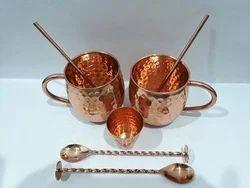 Copper Mug Set Of 7 Pcs, Size: 8.5 X 10 Cms
