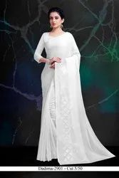 Party Wear White Embroiderer Chiffon Saree With Blouse Piece
