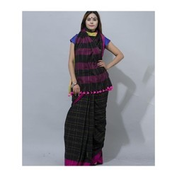 Ladies Handloom Black Check Cotton Saree, Packaging Type: Plastic Bag, 5.5 m (Separate Blouse Piece)