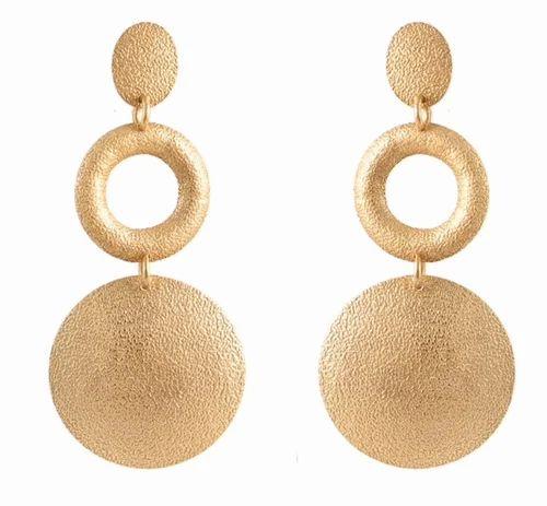 Silver Brass Gold Plated Dangle Three Round Circles Quartz Pink Onyx Bead Hanging Boho Handmade Stud Push Back Light Weight Fashion Earring