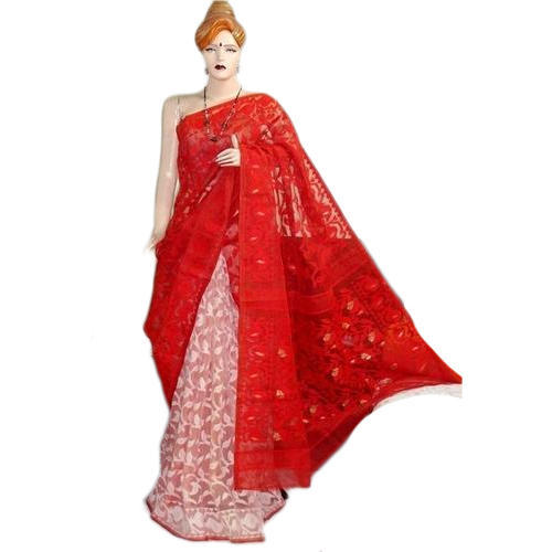 75899151b358f Swarupini Silk Brick And Half White Saree And Blouse