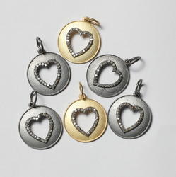 Round With Heart Charm Natural Diamond Charms in 925 Sterling Silver