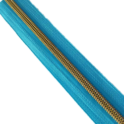 Nylon Zippers  with Golden Teeth