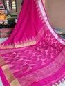 Linen Sarees With Handwoven Thread Temple Work