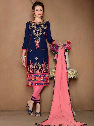 6b2dd81ca13 Party Wear Blue Cotton Embroidered Dress Material
