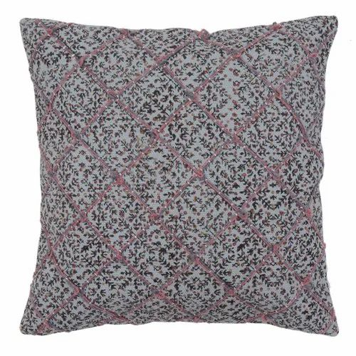 Embroidered Diamond Pattern Printed Cotton Cushion Cover