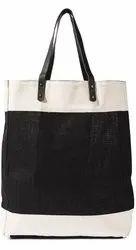 Leather Black Jute Market Bag, Size: 45X35X12, Capacity: 10-12Kg