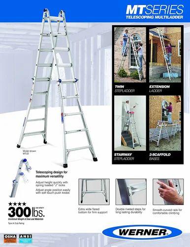 Multi Purpose Ladders Euro Gorilla Series 7 To 11 Ft Reach 18 Aluminium Step Telescopic Ladder Whole Trader From Bengaluru