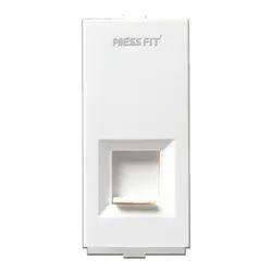 Plastic White Press Fit Modular 2 Line Telephone Socket Jack with Shutter
