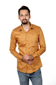 Vida Loca Men Satin Cotton Yellow Color Casual Shirt