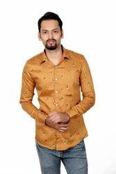 Full Sleeves Collar Neck Vida Loca Men Satin Cotton Yellow Color Casual Shirt