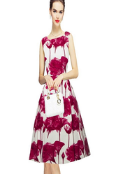 Shopistop Maroon And White exclusive designer printed midi d142 parle pink