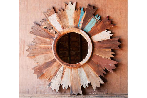 Decorative Sunburst Reclaimed Wood Round Mirror