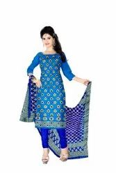 Sky Blue And Blue Color Fancy Design Gadhwal Bandhani Dress Material