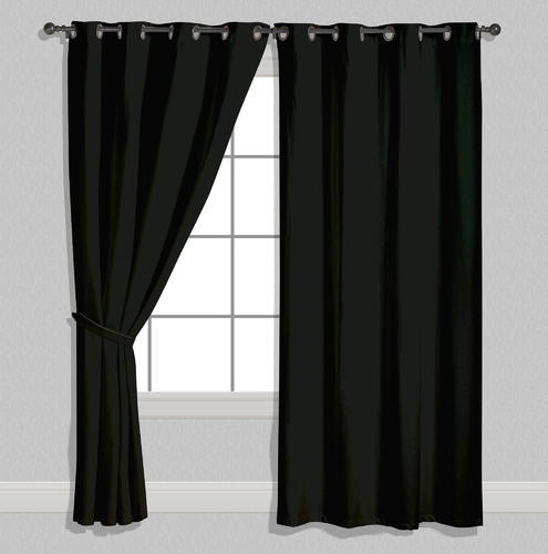 American Elm Both Sided Solid Black Satin Curtains Two Pane