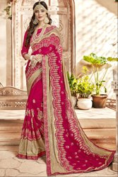 Magenta and Beige Embroidered Partywear Saree
