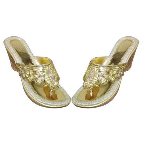 e67ce8d8e0 Golden Women Ladies Wedding Wear Wedges Sandal, Rs 260 /pair | ID ...
