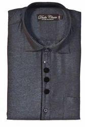 Satin Grey Mens Party Wear Shirts