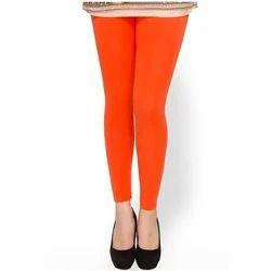 Orange Plain Ladies Cotton Legging, Size: Large