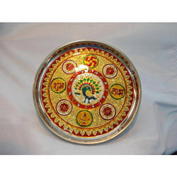 Stainless Steel Pooja Thali with Meenakari Work