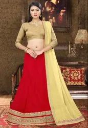 Rose Red Viscose Georgette Lehenga Choli