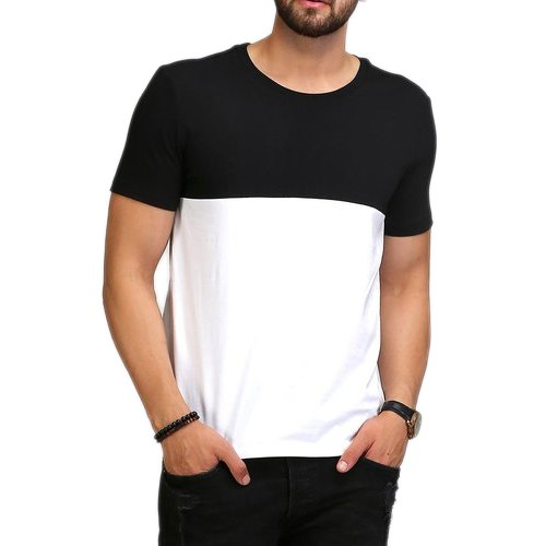 bcad450f2 Black And White Casual Wear Aelomart Mens Cotton Round Neck T Shirt, Size:  XL
