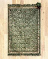 Green Printed Kosher - Handmade Cotton Floor Rug, Size: 48 X 72 In