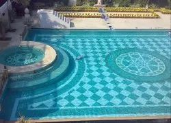 Wall Cladding Blue Glass Mosaic Tile For Swimming Pool & Designer Pool, Thickness: 5-10 mm, Size: Large (12 Inch x 12 Inch)