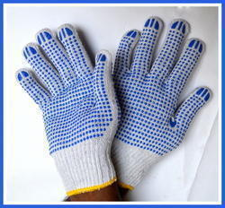 White On Blue Double Side Dotted Hand Gloves 60-65 Gram