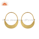Yellow Gold Plated 925 Silver Designer Bali Hoop Earrings Jewelry