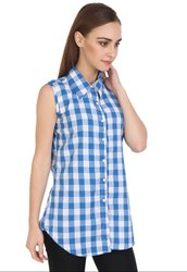 White and Blue Checks Cotton Top