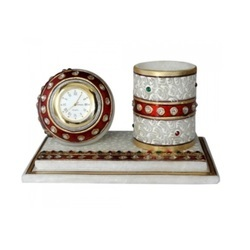 Marble Table Top Gift Pen Holder with Round Watch