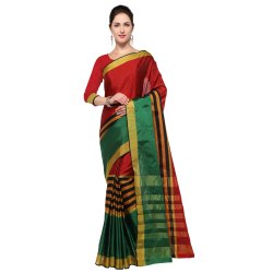Green and Maroon Colored Poly Silk Plain Saree