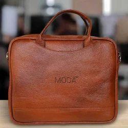 Moda Tan 100 % Genuine Leather Mini Laptop Messenger Bag