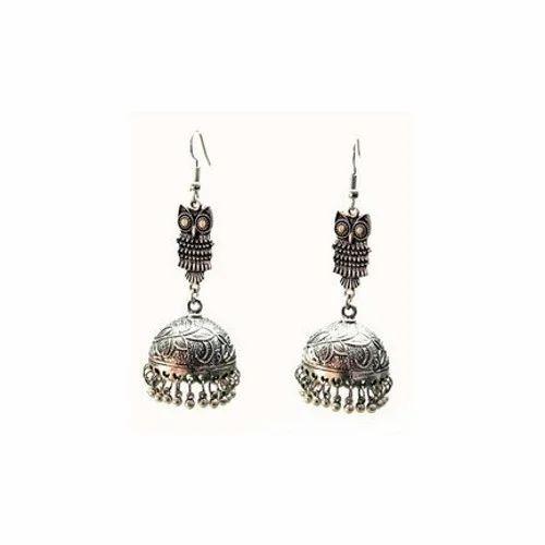 Silver Oxidized Earrings Jhumka Jhumki Imitation Jewelry Long Drop Dangle 6L14