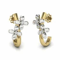 916 Gold Earrings J Type