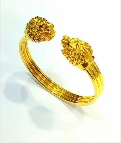 1f5d997874ab6 Mahna Jewellers Golden 18k Yellow Gold Mens Lion Bracelet 28.00 Gms ...