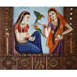 Rajasthani Royal Lady Canvas 3D Mural Painting
