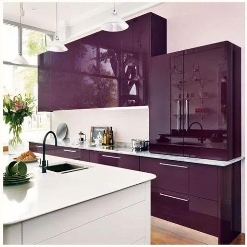 Purple Sleek Modular Kitchen