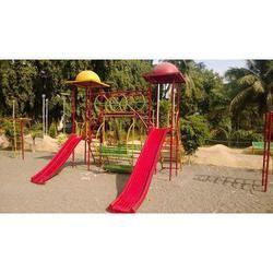 Outdoor Children Playing Garden Slide And Swing