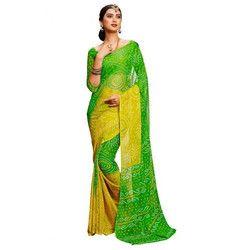 Green-Yellow Bandhani Saree