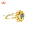Apatite Gemstone Gold Plated Designer Silver Stackable Ring Jewelry