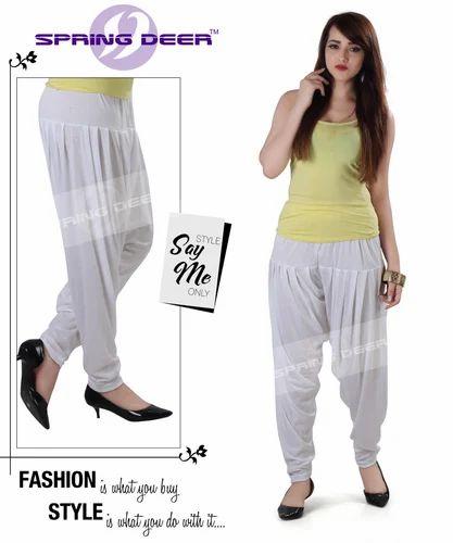 Stitched Cotton White Patiala Pant 5c7853fc5