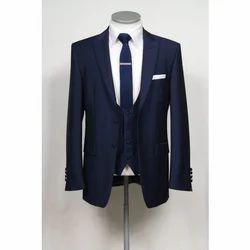 Mens Cotton Slim Fit 3-Piece Suit, Size: S, M and L