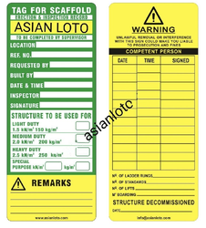 Green and Yellow Scaffold Safety Tag