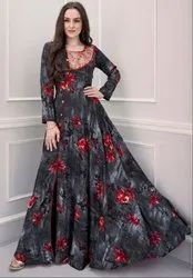 Slate Grey Printed Rayon Gown