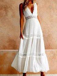 Cotton v neck Women Western Dress