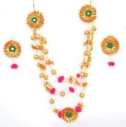 Pearl Multicolor Gota Patti Necklace With Earrings For woman