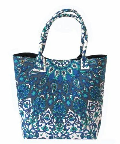 Cotton Blue Color Printed Party Wear Carry Hand Bag